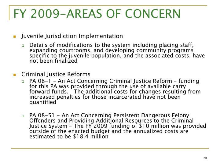 FY 2009-AREAS OF CONCERN