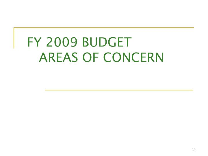 FY 2009 BUDGET