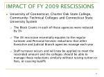 impact of fy 2009 rescissions11