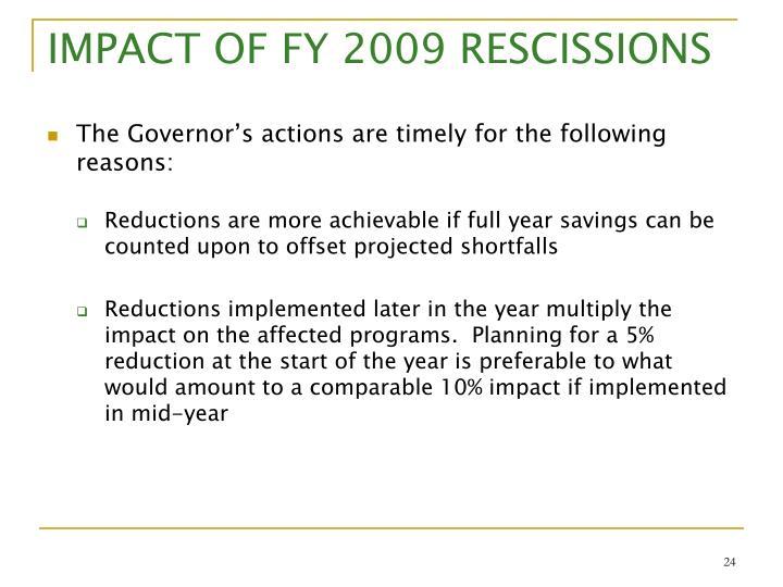 IMPACT OF FY 2009 RESCISSIONS