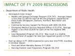 impact of fy 2009 rescissions7