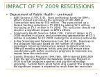 impact of fy 2009 rescissions8