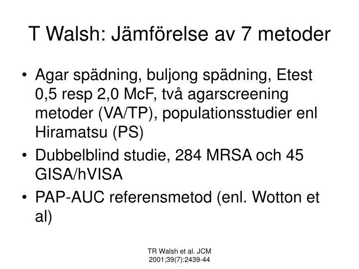 T Walsh: Jämförelse av 7 metoder