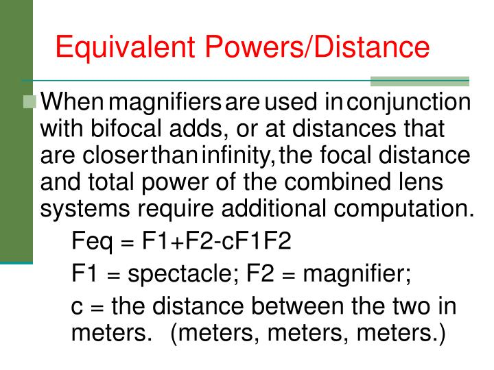 Equivalent Powers/Distance