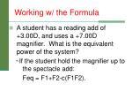 working w the formula
