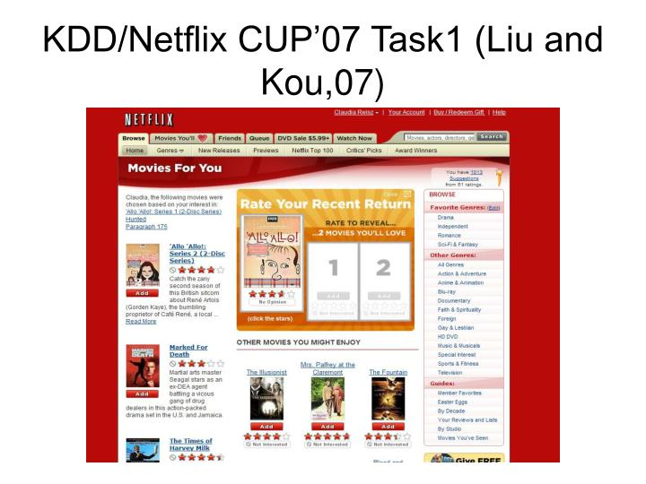 KDD/Netflix CUP'07 Task1 (Liu and Kou,07)