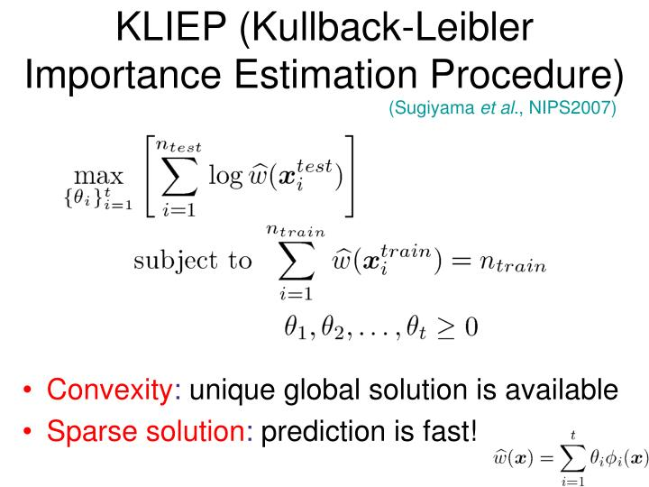 KLIEP (Kullback-Leibler