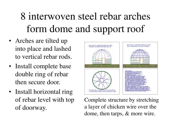 8 interwoven steel rebar arches