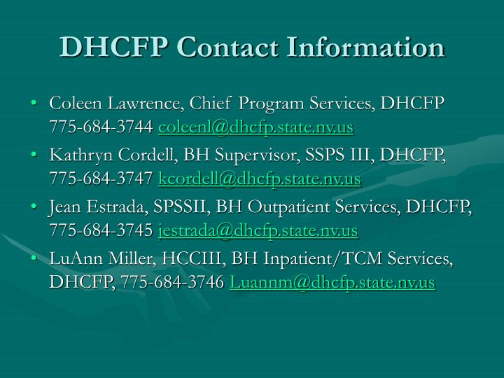 DHCFP Contact Information