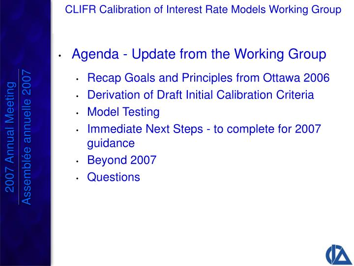 Agenda - Update from the Working Group