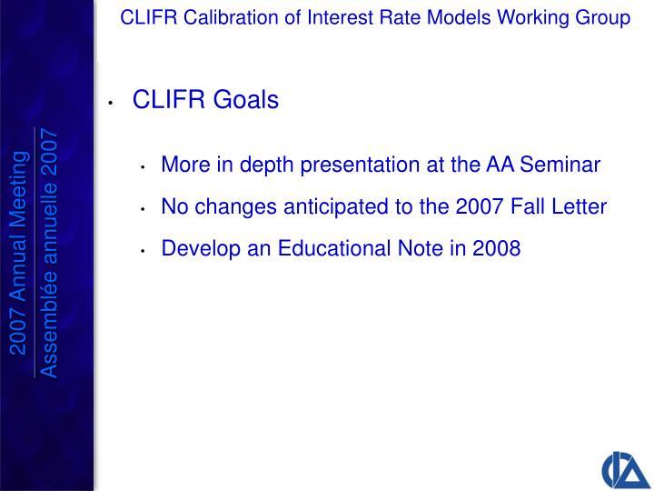 CLIFR Goals