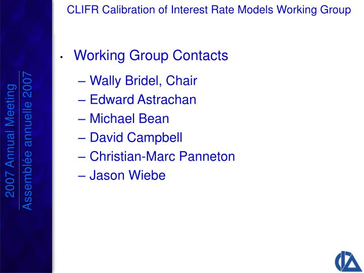 Working Group Contacts