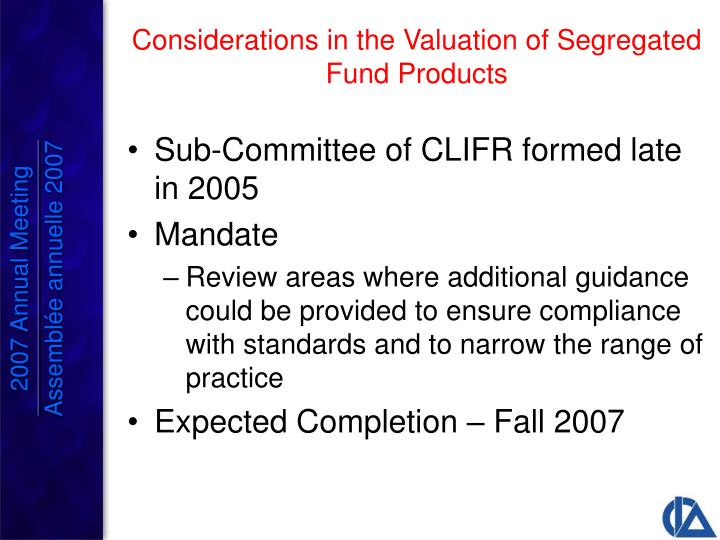Sub-Committee of CLIFR formed late in 2005