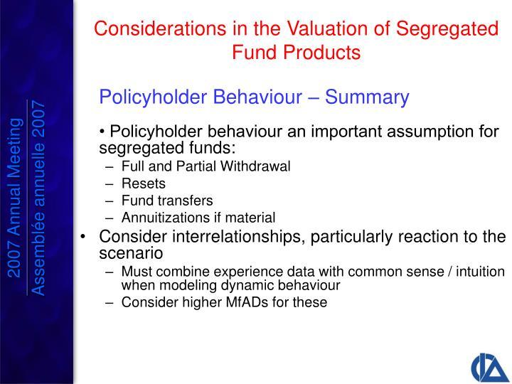 Policyholder Behaviour – Summary