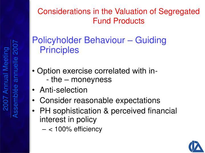 Policyholder Behaviour – Guiding Principles