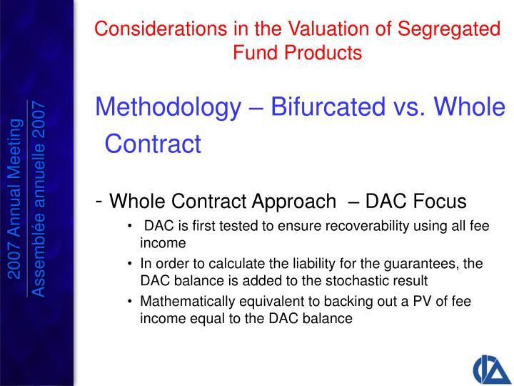 Methodology – Bifurcated vs. Whole