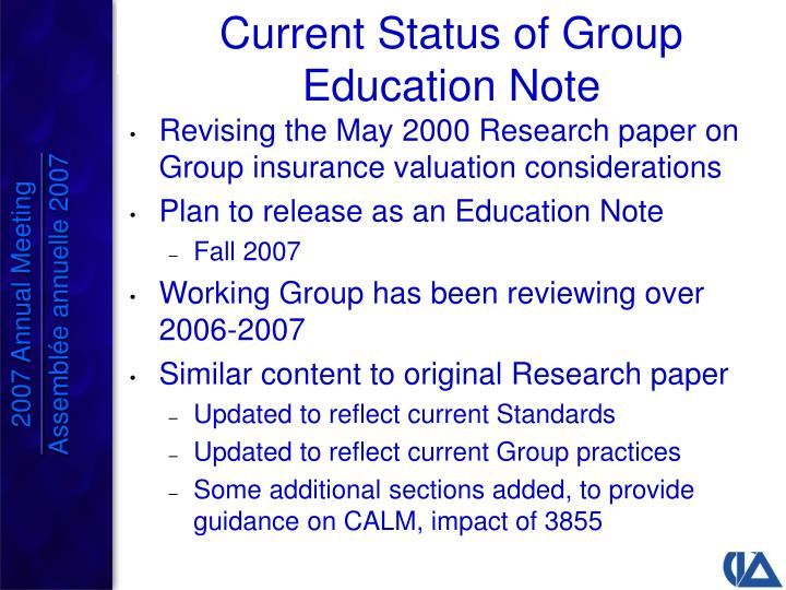 Revising the May 2000 Research paper on Group insurance valuation considerations