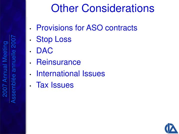 Provisions for ASO contracts