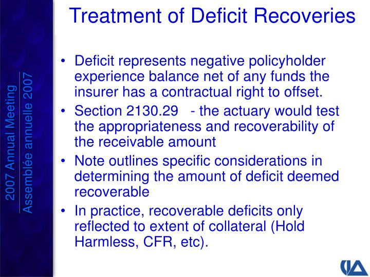Deficit represents negative policyholder experience balance net of any funds the insurer has a contractual right to offset.