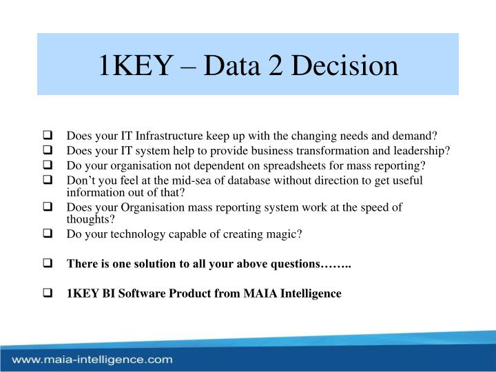 1KEY – Data 2 Decision