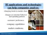 bi applications and technologies can help companies analyze