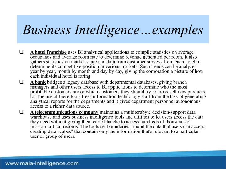 Business intelligence examples