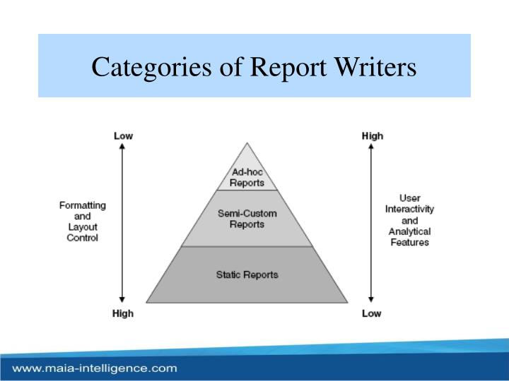 Categories of Report Writers