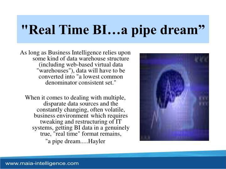 """Real Time BI…a pipe dream"""
