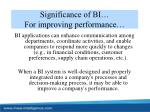 significance of bi for improving performance