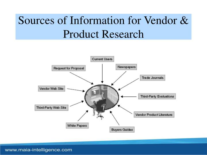 Sources of Information for Vendor & Product Research