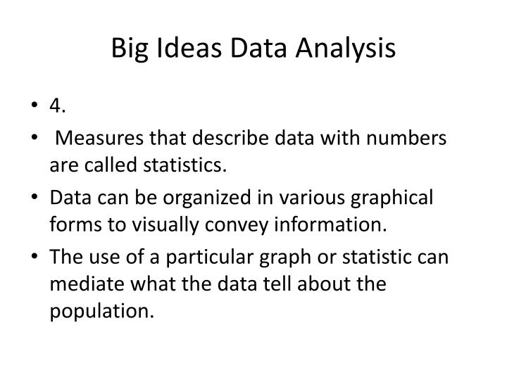 Big Ideas Data Analysis