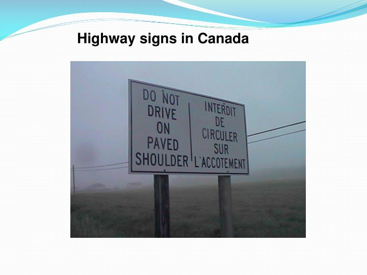 Highway signs in Canada