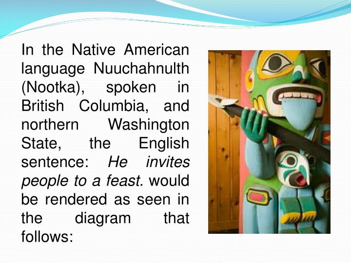 In the Native American language Nuuchahnulth (Nootka), spoken in British Columbia, and northern Washington State, the English sentence: