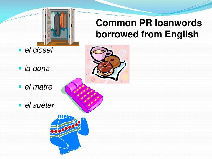 Common PR loanwords borrowed from English