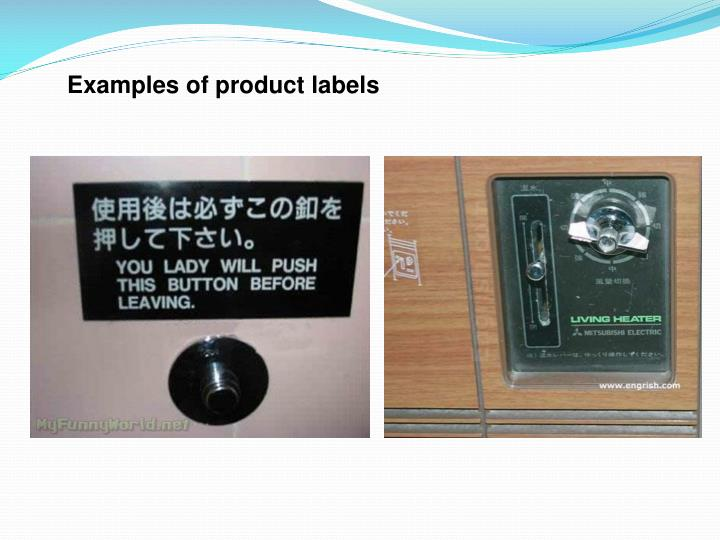Examples of product labels
