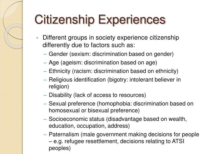 Citizenship Experiences