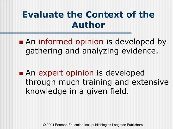 Evaluate the Context of the Author