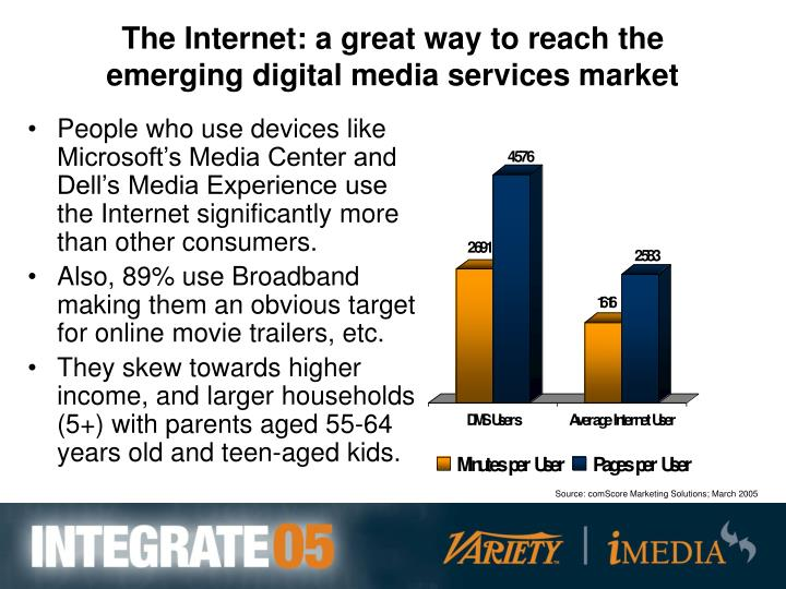 The Internet: a great way to reach the emerging digital media services market