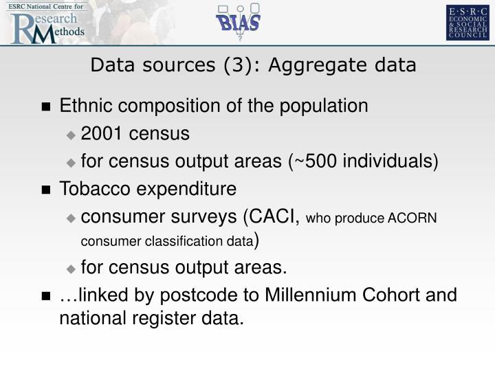 Data sources (3): Aggregate data