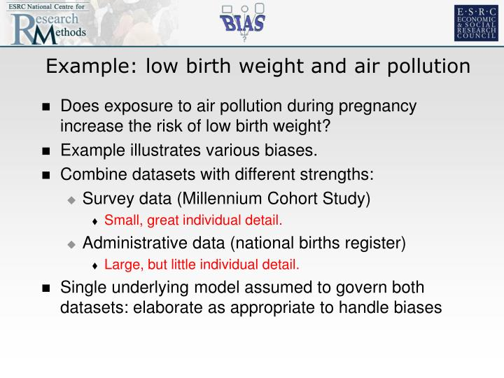 Example: low birth weight and air pollution