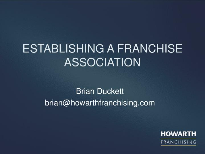 Establishing a franchise association