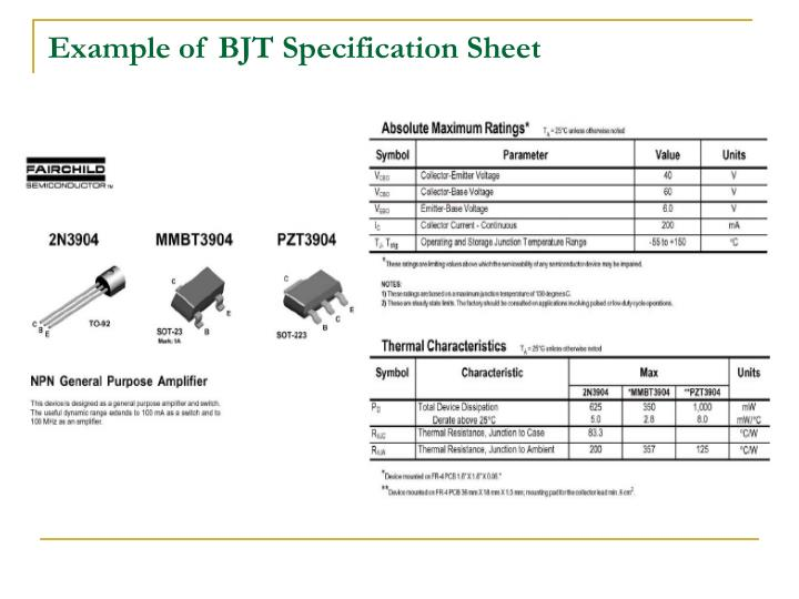 Example of BJT Specification Sheet
