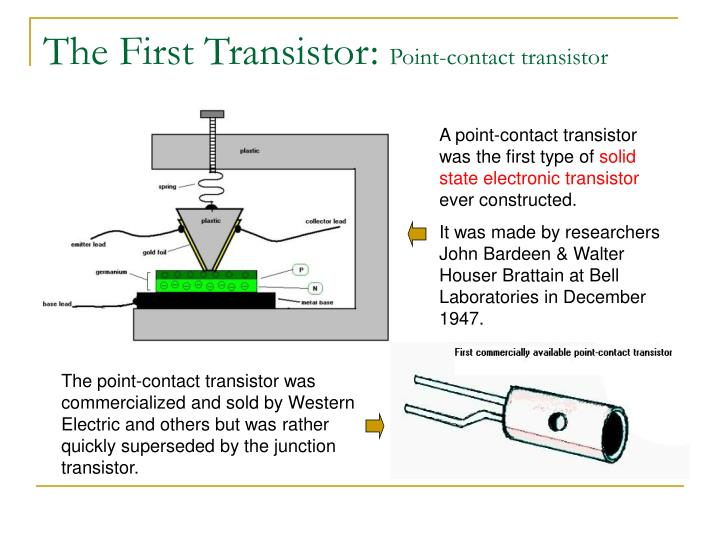 The first transistor point contact transistor