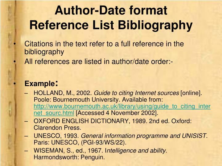 Author-Date format