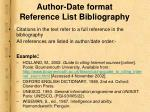 author date format reference list bibliography