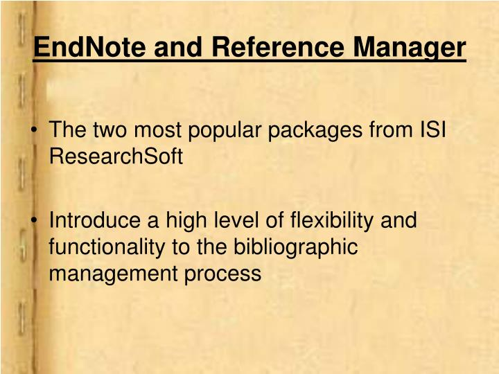 EndNote and Reference Manager