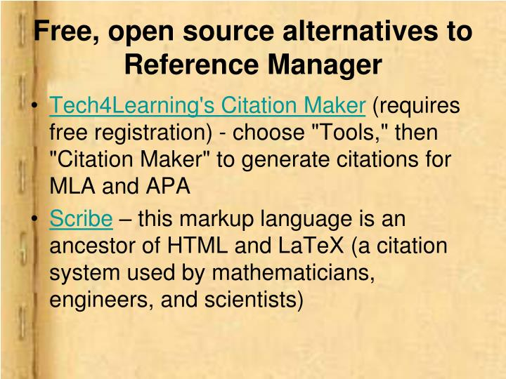 Free, open source alternatives to Reference Manager