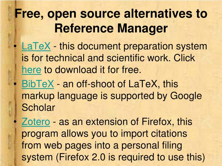 Free, open source alternatives to