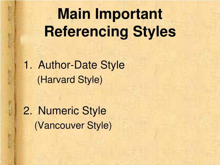 Main Important Referencing Styles