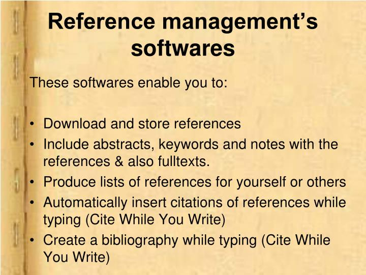 Reference management's softwares